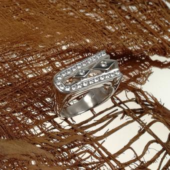 Weißgold-Ring mit Zirconia Besatz