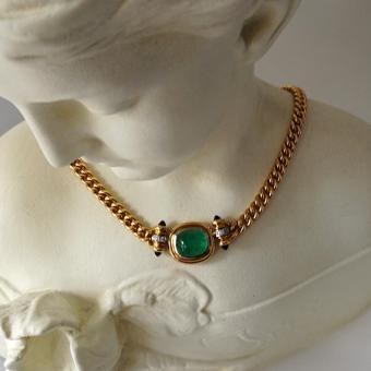 Smaragd-Diamant Collier 750 Gelb-Weißgold
