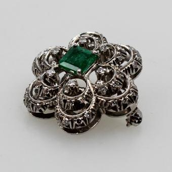 Brosche Weißgold Diamant Smaragd