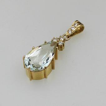 Aquamarin-Diamant Anhänger 585 Gelbgold