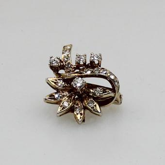 Perlclipp mit Diamant Besatz 585 Gelbgold
