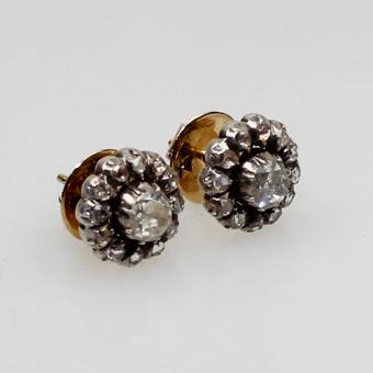 antike Diamant Ohrstecker mit Diamant-Rosen besetzt