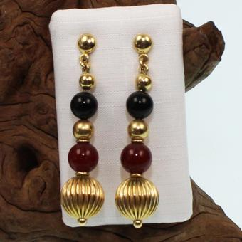 Ohrhänger Gelbgold mit Onyx und Karneol 333