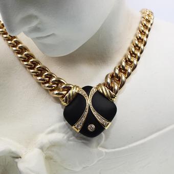 Diamant Collier Gelbgold 750 mit  großem Onyx