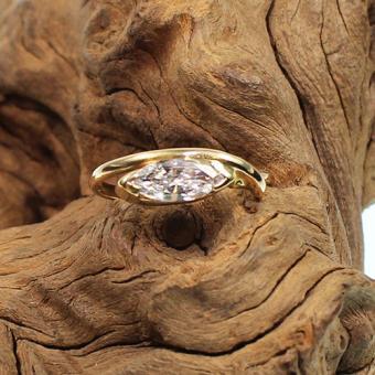 Navette Diamant Ring 750 Gelbgold