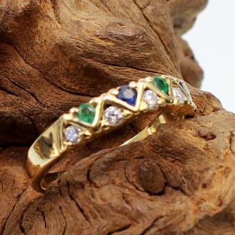Saphir-Smaragd-Diamant Ring Gelbgold 750