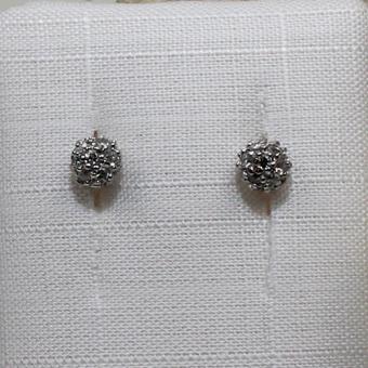 Ohrstecker Silber mit weißen Steinen besetzt