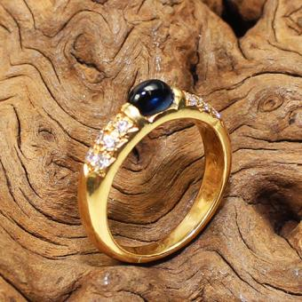 Saphir Brillant Ring 750 Gelbgold