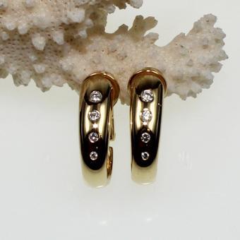 Diamant Ohrklipps 750 Gelbgold, ca. 0,30 ct