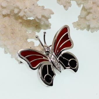 Weißgold Brosche Schmetterling 750 mit Brillanten