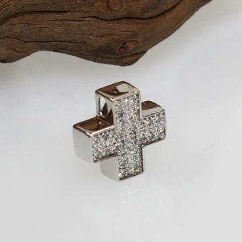 Kreuzanhänger 585 Weißgold mit Diamant Besatz