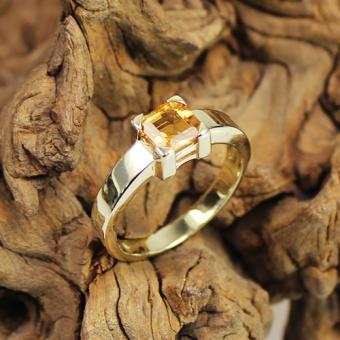 Citrin Ring 585 Gelbgold