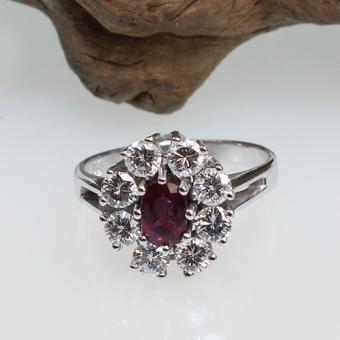 Rubin-Brillant Ring 585 Weißgold