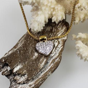 Collierkette mit Brillant-Herz-Anhänger 750/585 ca. 1,00 ct