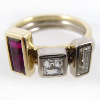 Rubin-Diamant-Ring 750 Handarbeit