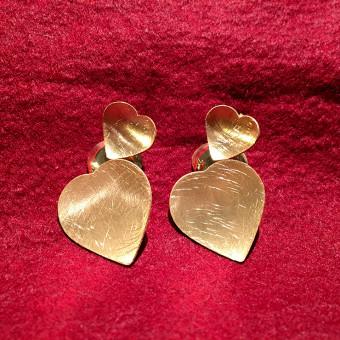 Ohrstecker -DNA Jewels- 3 Herzen 925er Silber vergoldet