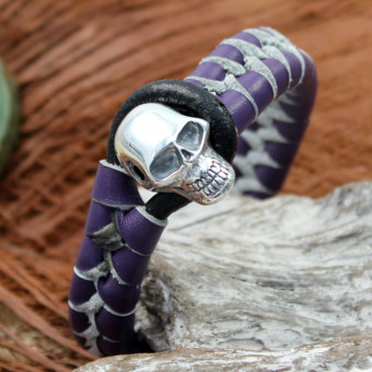 JJJ LA Switch Silverskull Braclet violett 190 mm