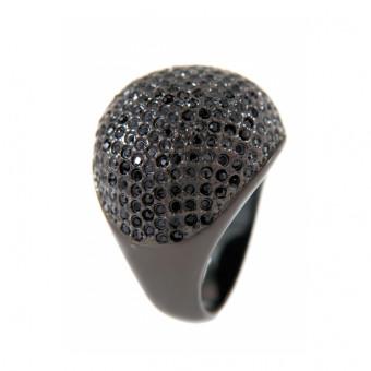 Bronzallure Cubic Zirkonia Ring Bronze Black plated GR 54