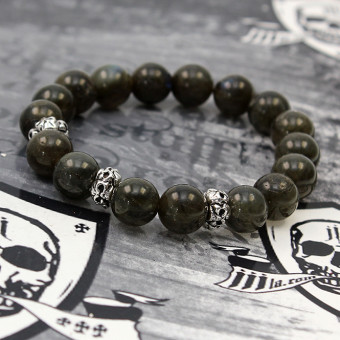 "JJJ LA Labradorit Armband ""Camo/Skull"" mit silbernen Totenschädeln"