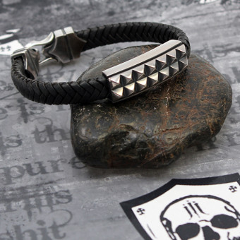 "JJJ LA Armband ""Glamrock"" Leder kombiniert mit geschwärztem Silber"