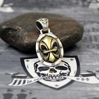 """JJJ LA Anhänger """"gold Fleur de Lys"""" 925er Silber Bronze gold polished"""
