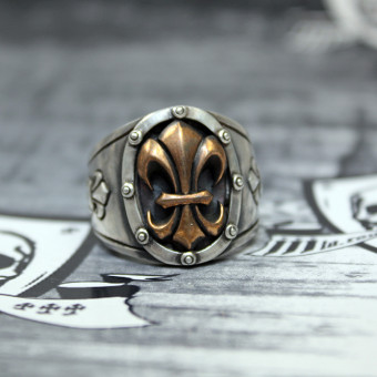 "JJJ LA Herren Ring ""bronce Fleur de Lys"" 925er Silber mit Bronze GR 68"