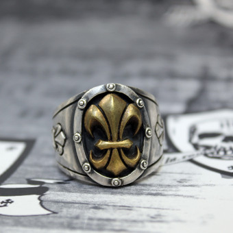 "JJJ LA Herren Ring ""gold Fleur de Lys"" 925er Silber mit goldener Fleur de Lys GR 66"