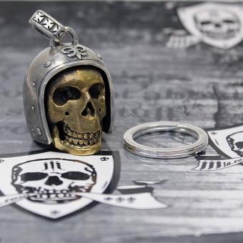 "JJJ LA Anhänger ""Big Gold Biker Skull"" 925er Silber Bronze inkl. Schlüsselring aus 925er Silber"