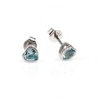 925er Sterling Silber Ohrstecker in Herzform mit Rhodium Platinierung und hellblauen Zirkonia Steinen