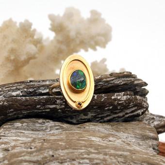 Gelbgold Ring 750er mit Opal