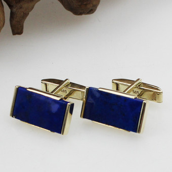 Manschettenknöpfe mit Lapis Lazuli in 585 Gelbgold