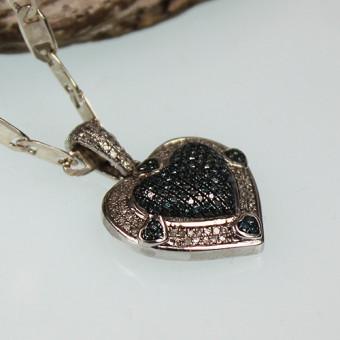 Silberherz Anhänger mit Diamant Besatz