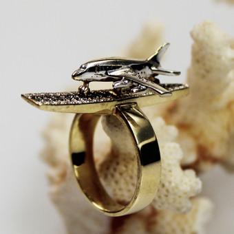 Saphir Brillant Ring in außergewöhnlicher Handarbeit gefertigt