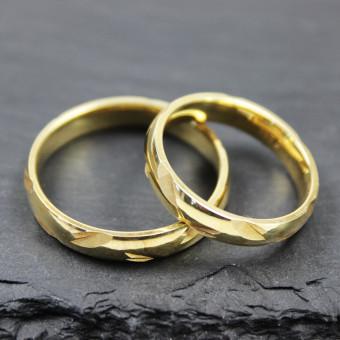 Verlobungsringe Gelbgold 585 mit Einkerbungen Damenring in Größe 53, Herrenring 63