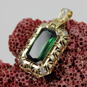 Gelbgold Turmalin Anhänger 585 mit ca. 0,08ct. Diamanten und ca 12 ct. Turmalin