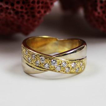 Diamant Ring  750 Gelb-Weißgold