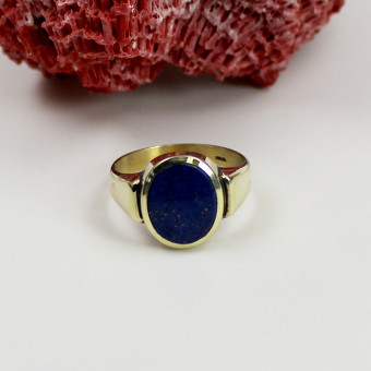 Herren Ring 585 Gelbgold mit Lapis Lazuli