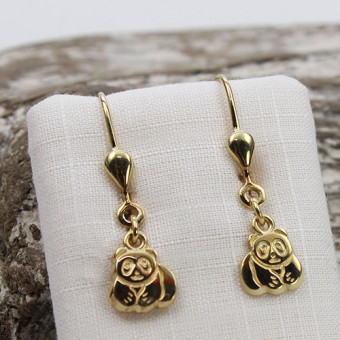 Kinder Ohrringe Panda 333 Gelbgold