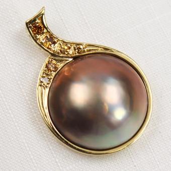 Mabe-Perlen Anhänger 585 Gelbgold