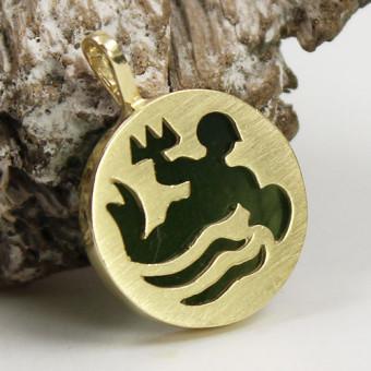 Goldener Anhänger 585 mit Neptun-Motiv