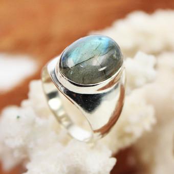 Ring 925 Silber mit grün schimmerndem Farbstein