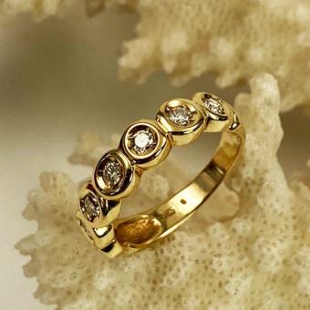 Halb-Memoire Brillant Ring 585 Gelbgold