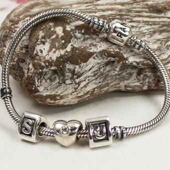Pandora Schlangenglieder-Armband mit 3 Charms 925 Silber