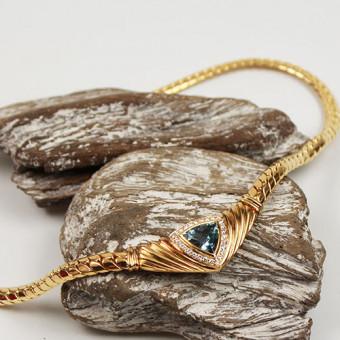 Aquamarin-Brillant Collier 750 Gelbgold