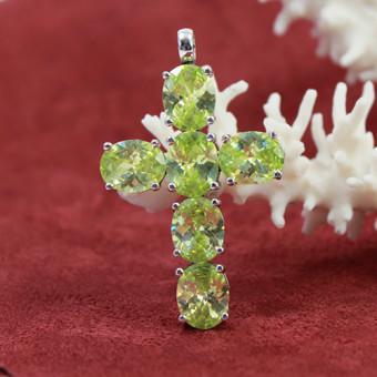 Kreuz-Anhänger 925 Silber mit grünen Farbsteinen
