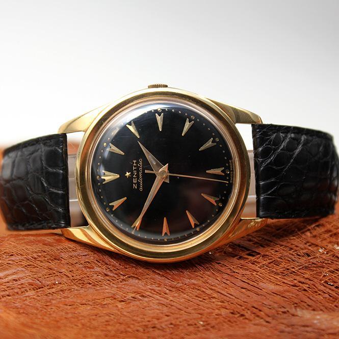 Zenith Vintage Herren Armbanduhr mit Hammerautomatik am Lederband