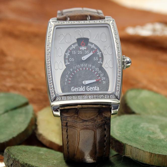 Gerald Genta Solo Biretro Herren Armbanduhr mit Brillantlünette