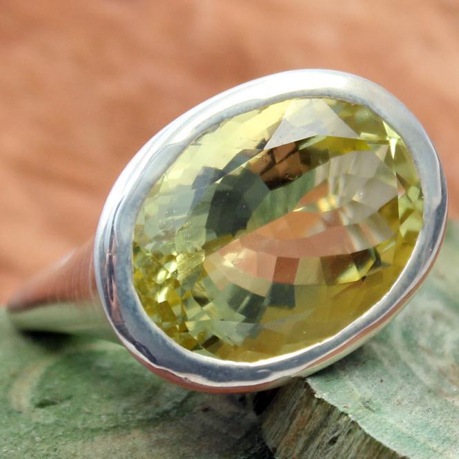 Campur Ring Silber mit Lemonquarz RS1212L GR 54