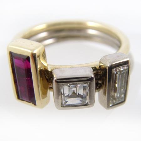 Rubin-Diamant-Ring 750 Handarbeit