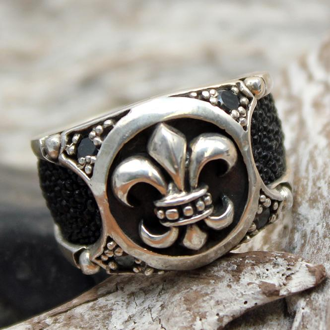 "JJJ LA Ring ""lily ray"" GR 54 Herrenring aus 925er Silber kombiniert mit Rochenleder"